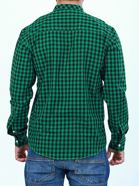 Mandarin Collar 100% Cotton Casual Shirt for Men B Green Checks