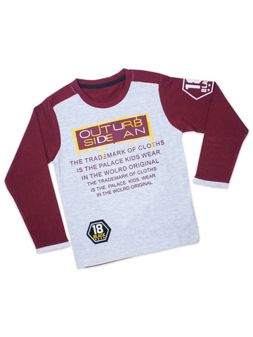 ATT Boys T-Shirt 3 Yrs - 10 Yrs Printed SIDE AN Maroon