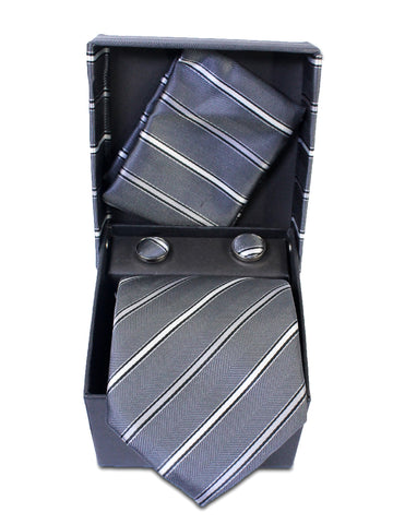 Tie Gift Box Set 3 Pcs Tie Cuff-Link Pocket Square Grey Stripes