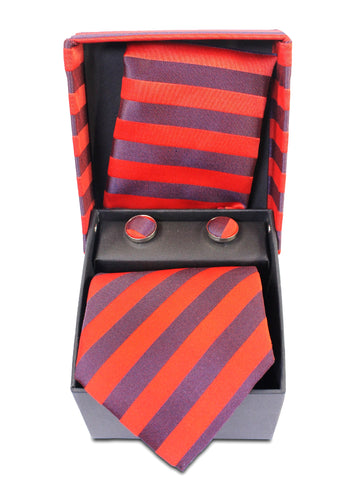 Tie Gift Box Set 3 Pcs Tie Cuff-Link Pocket Square Red Lines