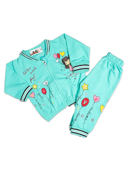 AKC New Born 3PCs Baby Suit 6Mth - 9Mth Printed Sweet Girl Ferozi