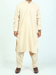 596/2 Shalwar Kameez Suit Stitched Sherwani Collar Embroidery Sand Brown