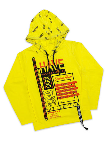 ATT Boys Hooded Neck T-Shirt 3 Yrs - 10 Yrs Printed Have Yellow