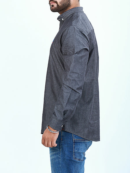 Chambray Casual Shirt for Men Pencil Black