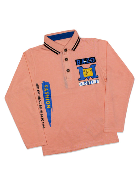 ATT Boys Polo T-Shirt 3 Yrs - 10 Yrs Printed Bazo Peach
