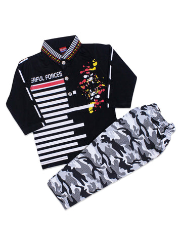 ASF Kids Suit 1.5Yr - 4Yr Printed Black White Lines