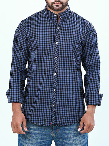 Mandarin Collar 100% Cotton Casual Shirt for Men Mini Blue Checks