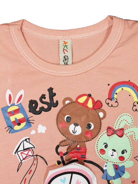 AKC Baby New born Suit 6Mth - 9Mth Printed Bear Peach