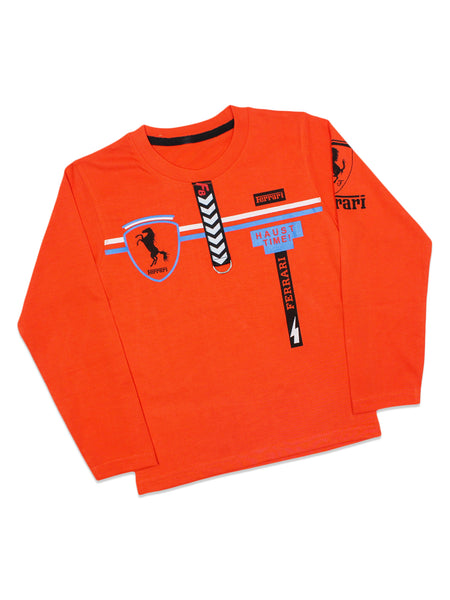 ATT Boys T-Shirt 3 Yrs - 10 Yrs Printed F8 Dark Orange