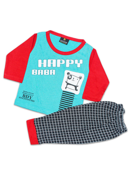 ATT Kids Suit 2Yrs - 5Yrs Printed Happy Baba Sea Green