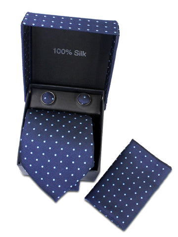 Tie Gift Box Set 3 Pcs Tie Cuff-Link Pocket Square Navy Blue Polka Dot