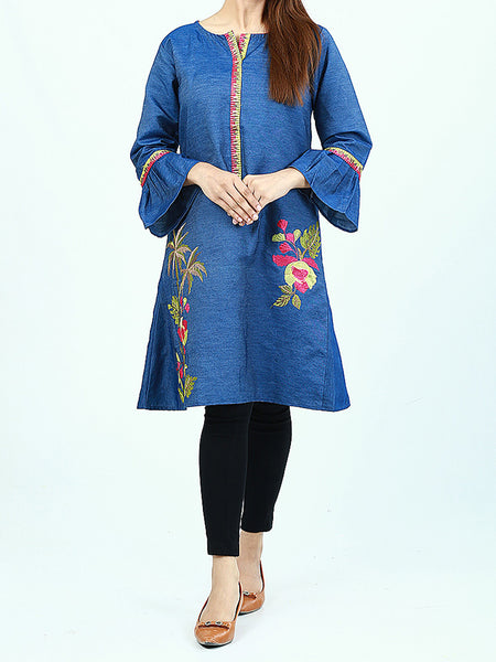 Embroidered Denim Kurti for Women Blue