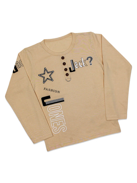 ATT Boys T-Shirt 3 Yrs - 10 Yrs Printed Jack Cream