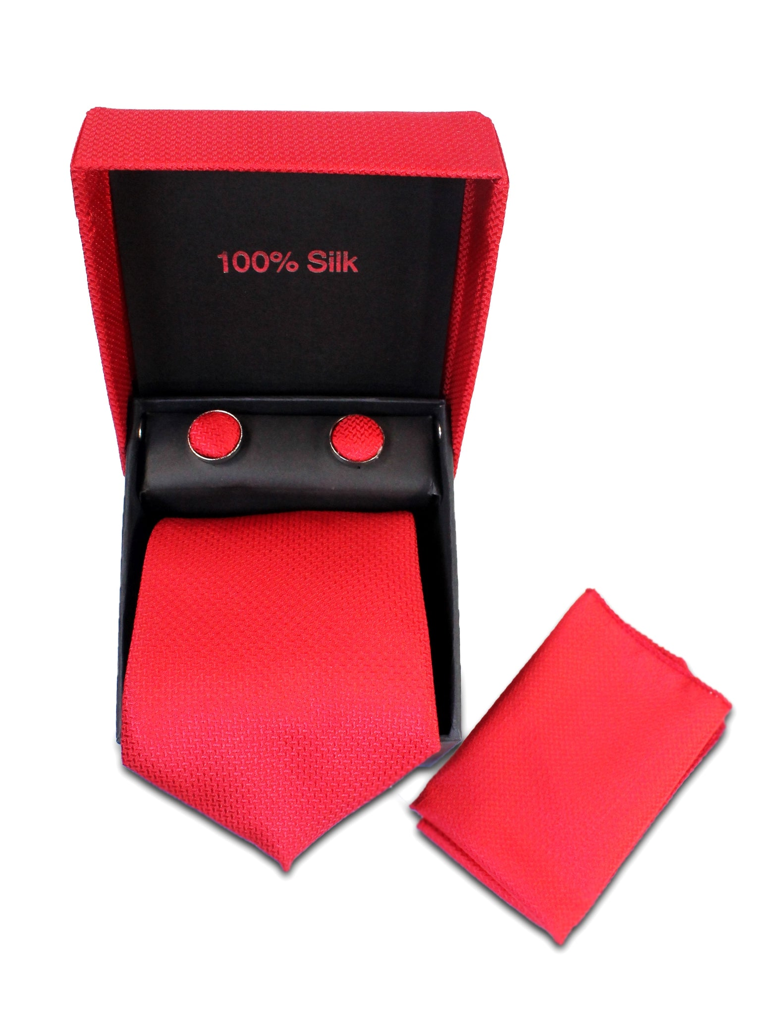 Tie Gift Box Set 3 Pcs Tie Cuff-Link Pocket Square Carmine Red Textured