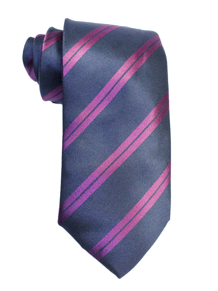 Tie Gift Box Set 3 Pcs Tie Cuff-Link Pocket Square Purple Double Stripes