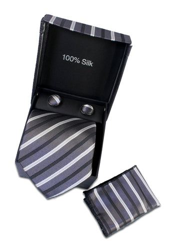 Tie Gift Box Set 3 Pcs Tie Cuff-Link Pocket Square Silver Grey Stripes