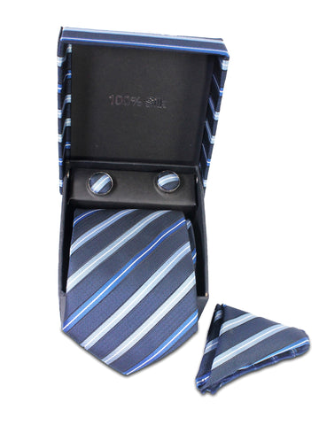 Tie Gift Box Set 3 Pcs Tie Cuff-Link Pocket Square Blue Stripes