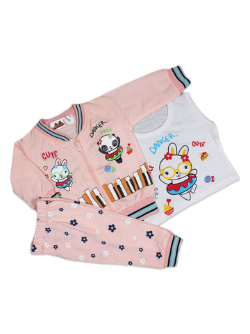 AKC New Born 3PCs Baby Suit 6Mth - 9Mth Printed Dancer Baby Pink