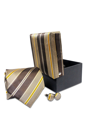 Tie Gift Box Set 3 Pcs Tie Cuff-Link Pocket Square Brown Stripes