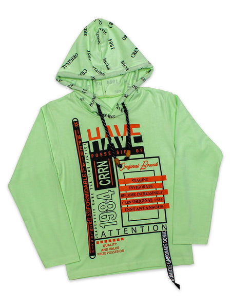 ATT Boys Hooded Neck T-Shirt 3 Yrs - 10 Yrs Printed Have Green