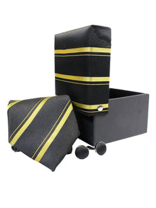 Tie Gift Box Set 3 Pcs Tie Cuff-Link Pocket Square Golden Stripes