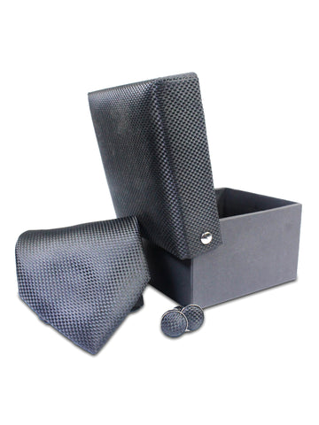 Tie Gift Box Set 3 Pcs Tie Cuff-Link Pocket Square Self Black Textured
