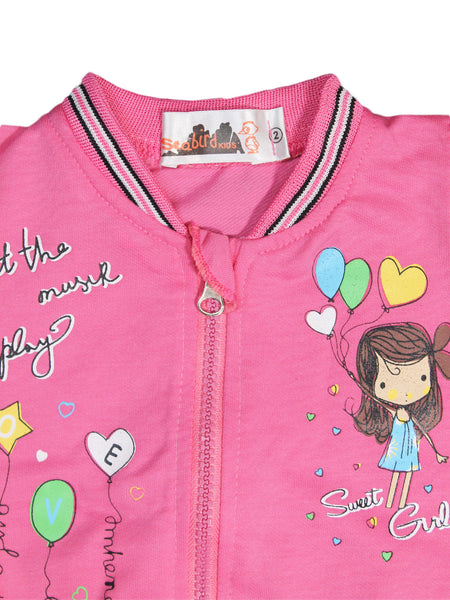 AKC New Born 3PCs Baby Suit 6Mth - 9Mth Printed Sweet Girl Pink