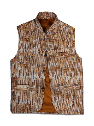 DN Waist Coat for 1Yr - 14Yr Boys Festive Brown and White Textured