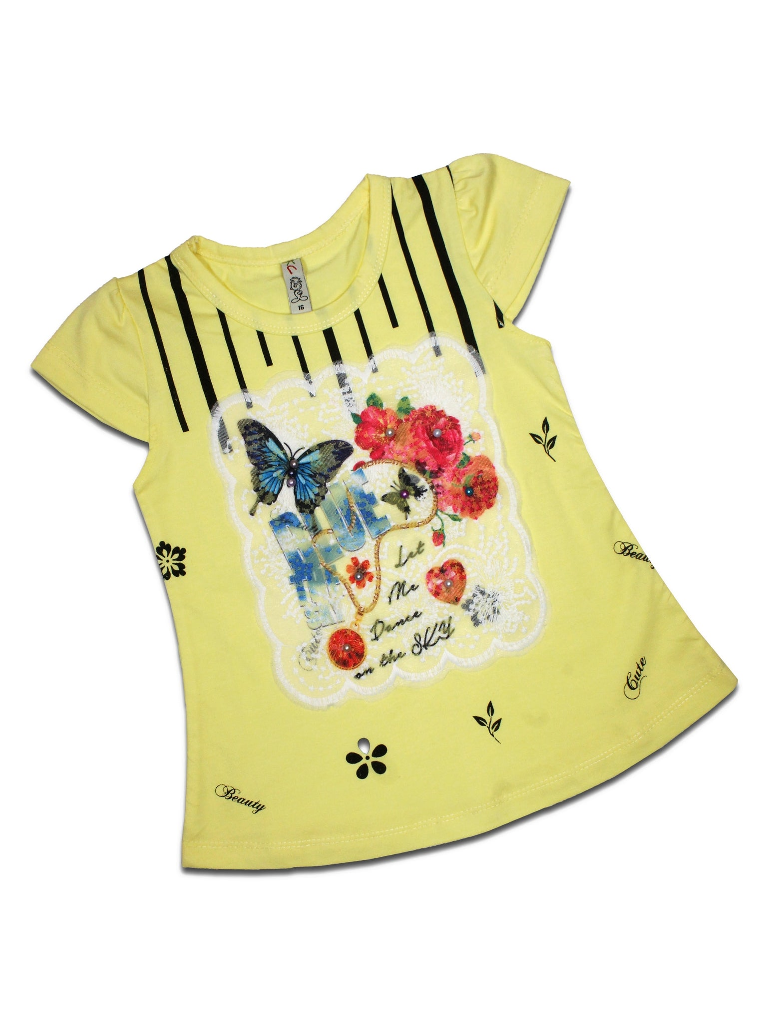 AK3 2.5Yrs - 8Yrs T-Shirt For Girls Net Embroidery Butterfly Style Candles Yellow
