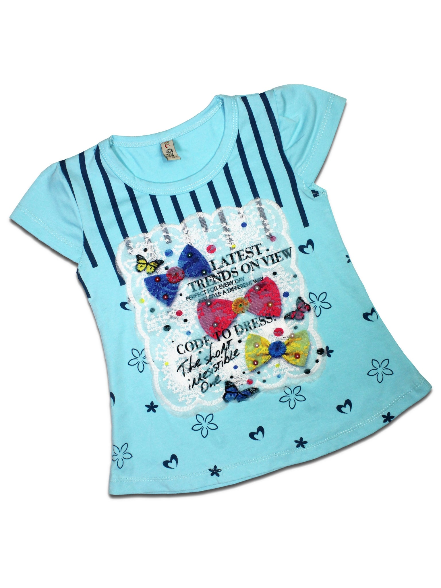AK3 2.5Yrs - 8Yrs T-Shirt For Girls Net Embroidery Bow Light Blue