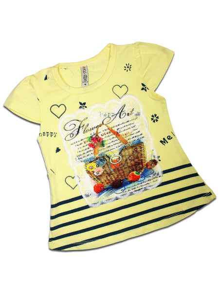 AK3 2.5Yrs - 8Yrs T-Shirt For Girls Net Embroidery Basket Style Soft Yellow