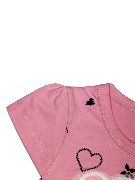 AK3 2.5Yrs - 8Yrs T-Shirt For Girls Net Embroidery Basket Style Baby Pink