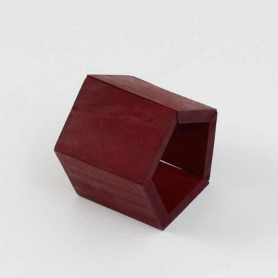 Chunky Wooden Geometric Bracelet Red