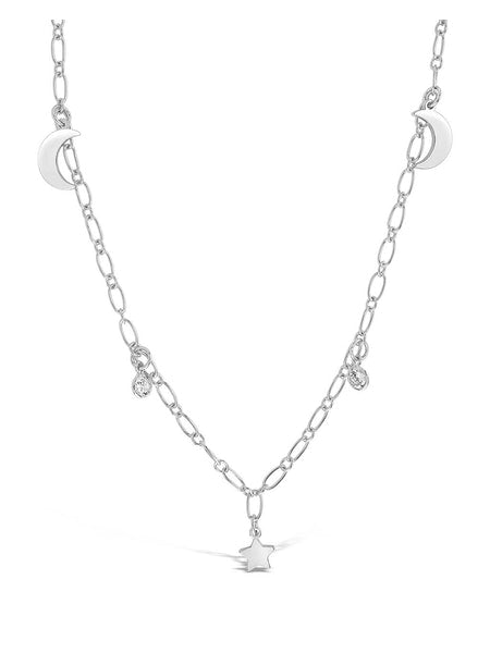 Sparkling CZ, Star, & Moon Chain Necklace