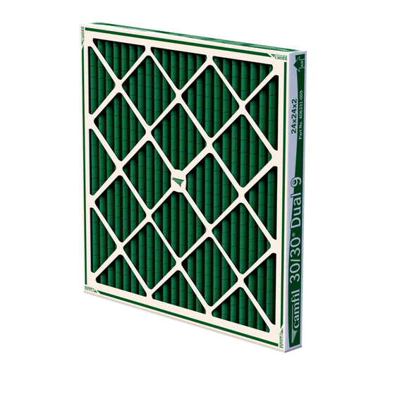 Camfil 30/30 DUAL 9 High Capacity MERV 9 Pleated Panel Air Filter - 24x24x2 - Dual-layered blended polyester
