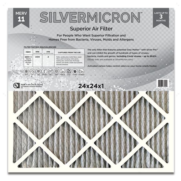 Silvermicron™ Antimicrobial MERV 11 Pleated Panel Air Filter - 24x24x1 - 6-pack