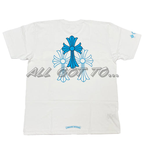Chrome Hearts Blue Cross Short Sleeve White