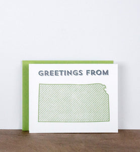 Greetings from Your State Letterpress Greeting Card