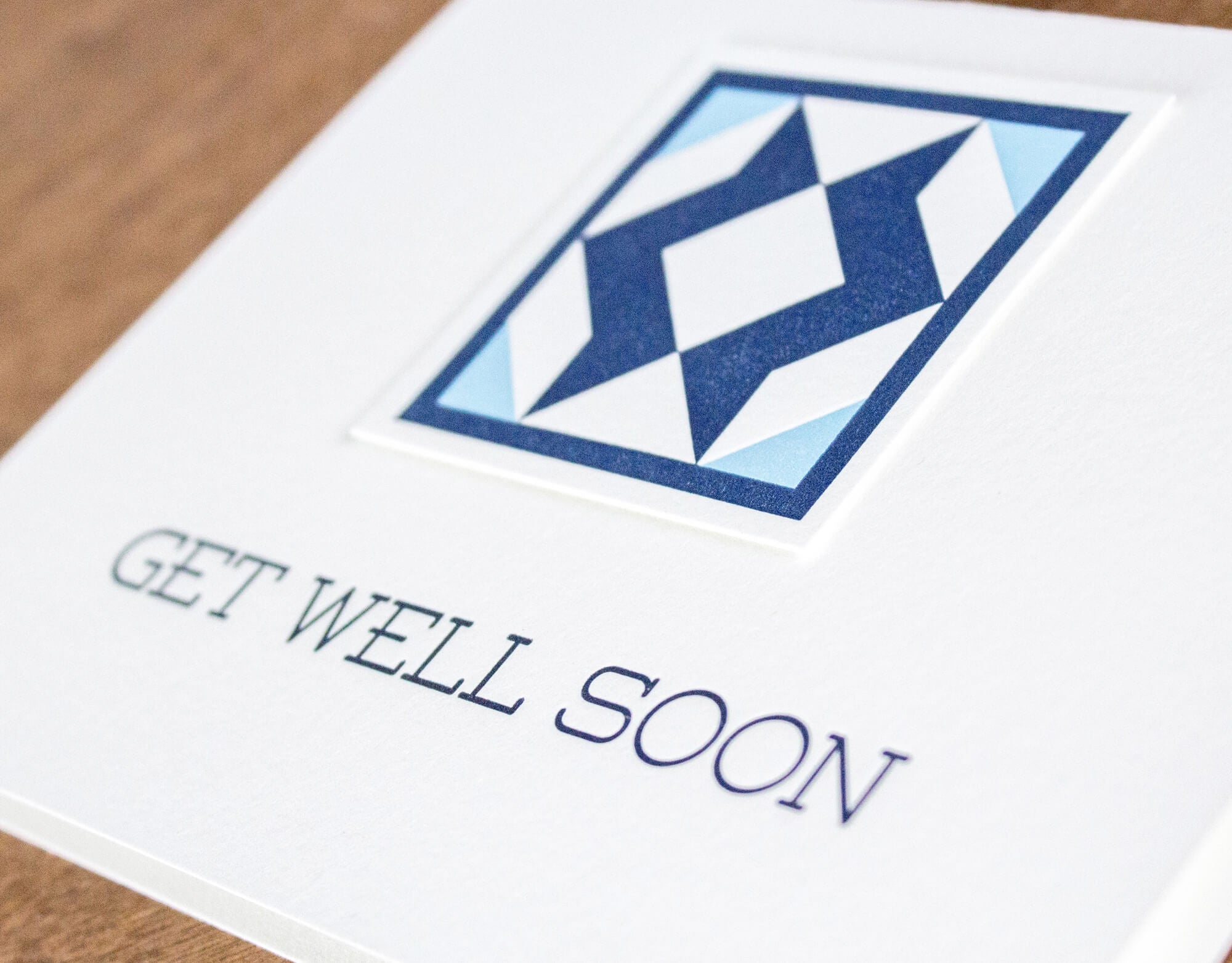 Get Well Soon Quilt Letterpress Greeting Card