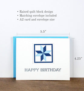Happy Birthday Quilt Letterpress Greeting Card