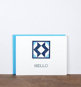Hello Quilt Letterpress Greeting Card