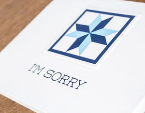 I'm Sorry Quilt Letterpress Greeting Card