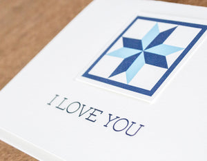 I Love You Quilt Letterpress Greeting Card