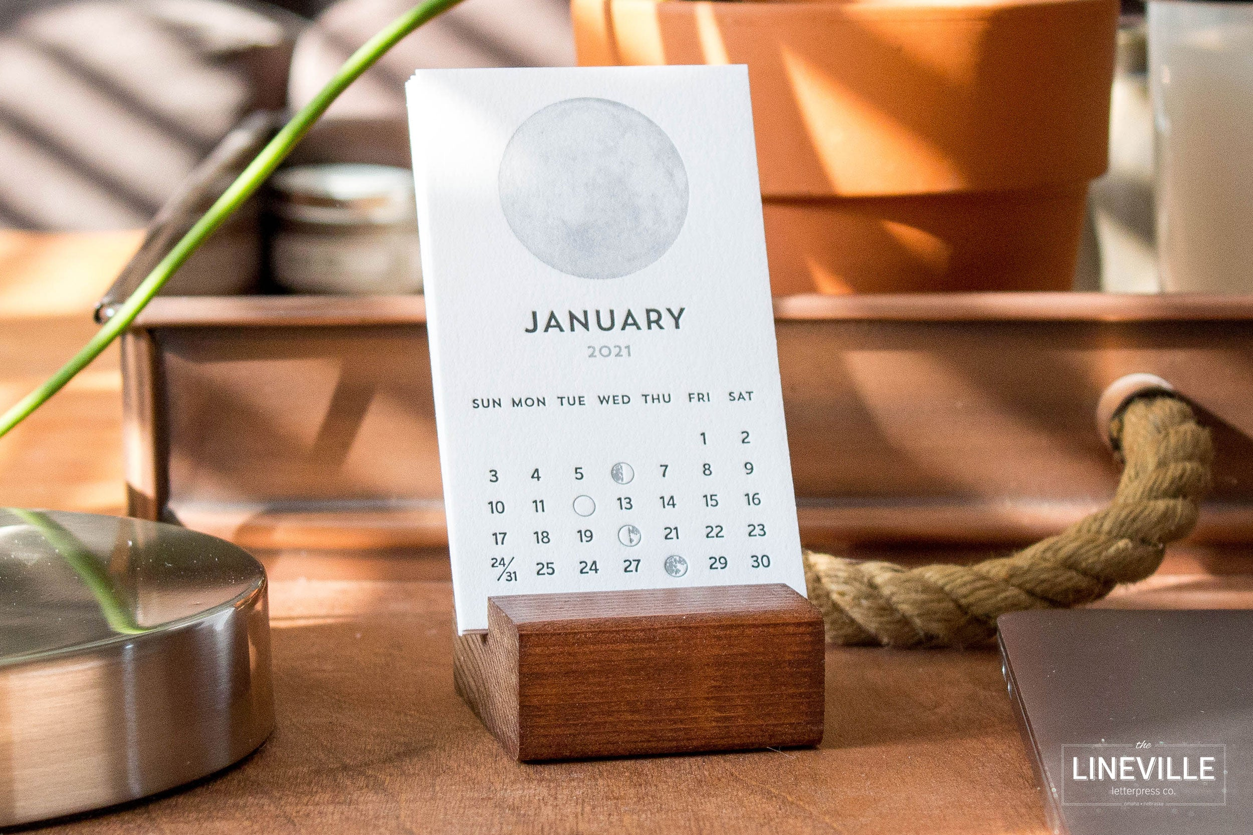 2021 Letterpress Moon Phase Desk Calendar