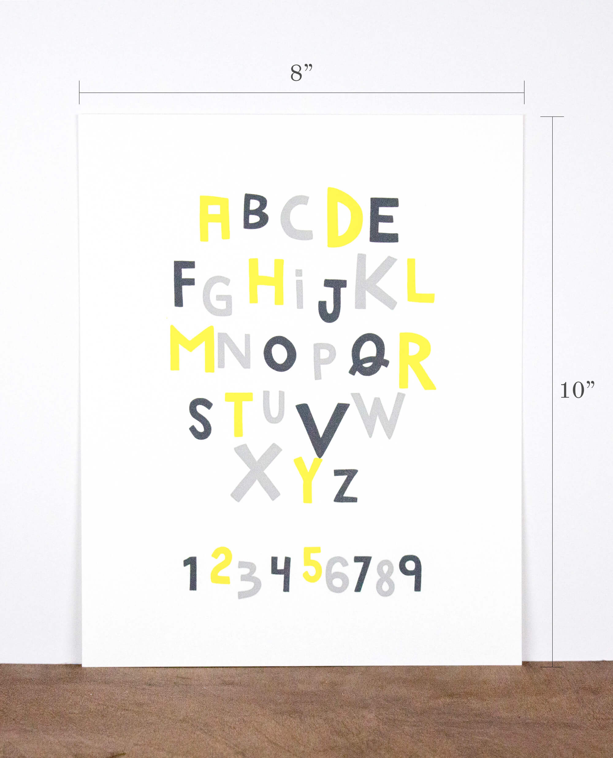 Alphabet and Numbers 8 x 10 Letterpress Print