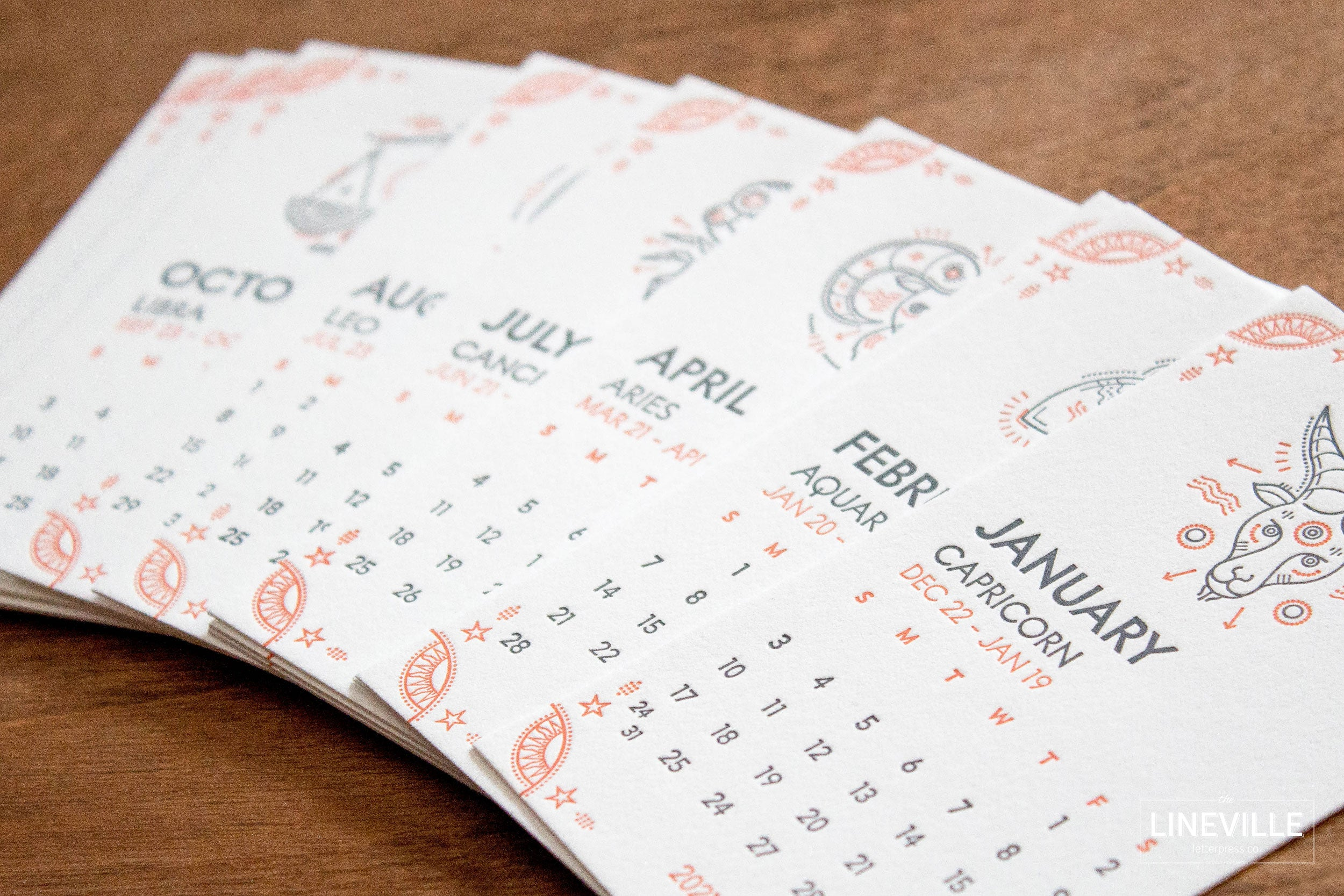 2021 Astrology Zodiac Letterpress Desk Calendar