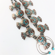 Load image into Gallery viewer, Vintage Native American Sterling Silver Squash Blossom Peyote Bird Turquoise and Coral Chip Inlay Southwestern