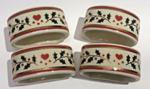 Load image into Gallery viewer, Crowning Touch Napkin Rings Christmas Set Of 4 Heart and Holly