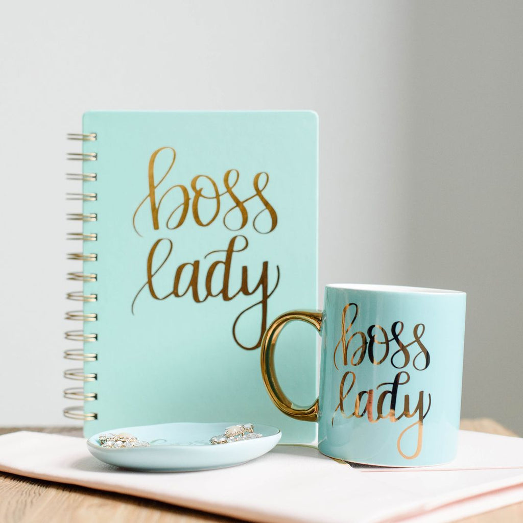 Boss lady mint notebook with boss lady mint mug