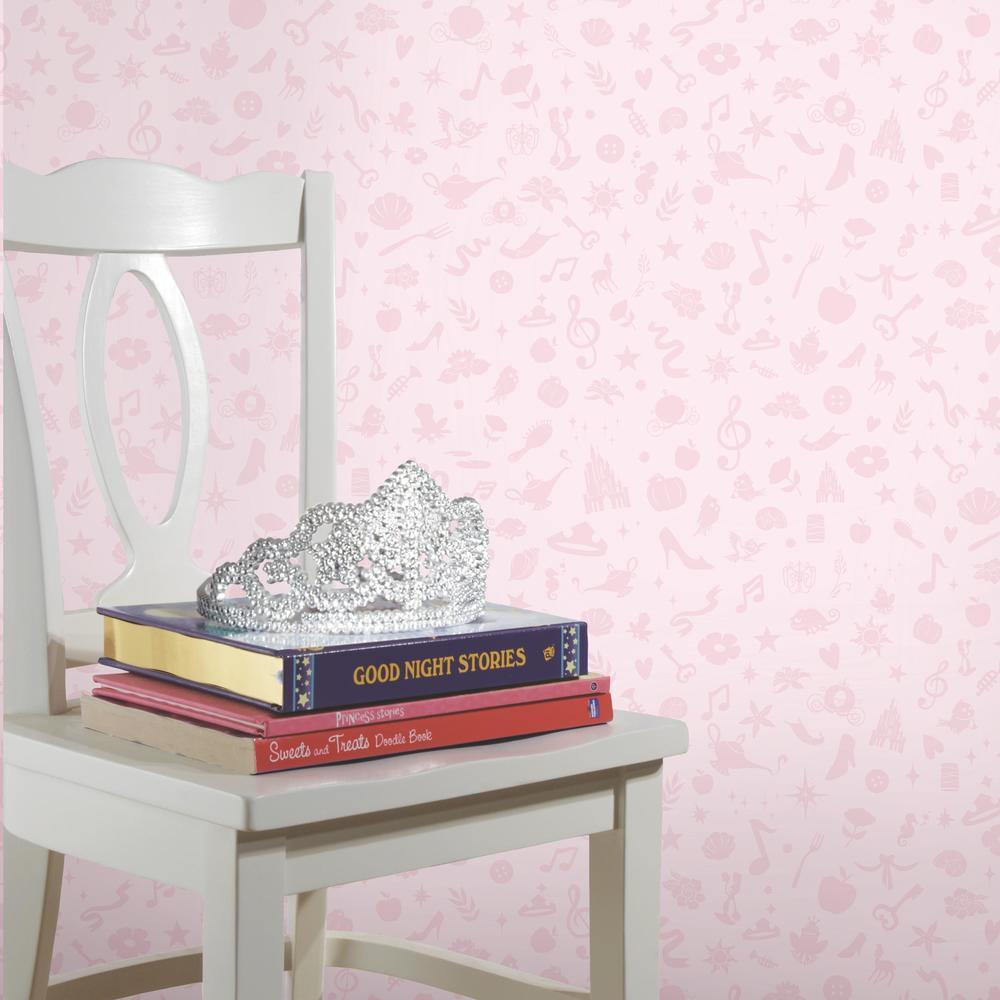 Pink Disney Princess Icons Peel and Stick Wallpaper with Glitter. Great for bedrooms and other living spaces